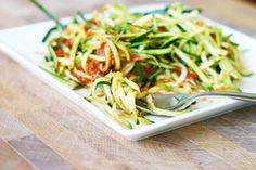 "Zucchini ""pasta"" via InspiredRD.com ...I'd sub out the jarred sauce, but I'm Italian ;)"