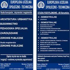 Projekt Ulotki Europejskiej Uczelni Społeczno - Technicznej