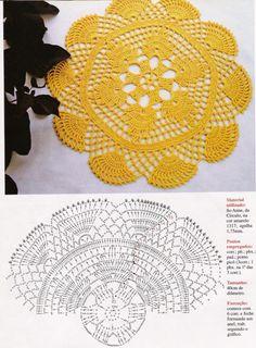 sousplat de crochê amarelo