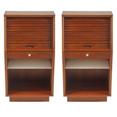 Pair of Teak Tambour Door Night Stands | From a unique collection of antique and modern night stands at https://www.1stdibs.com/furniture/tables/night-stands/