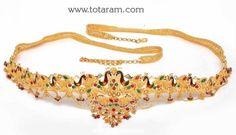 22 Karat Gold Peacock Vaddanam: Totaram Jewelers: Buy Indian Gold jewelry & 18K Diamond jewelry
