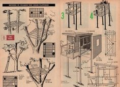 Tree House Plans Several Different Designs Fort Hut Playhouse Treehouse
