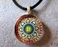 Red Earth Mandala Pendant Smooth Round Glass by SunshowerCreations, $8.95
