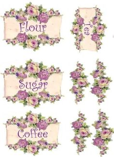 Decorative sandstone Planters Set of 3 Shabby Chic rose - Home Style Corner Decoupage Vintage, Vintage Diy, Shabby Vintage, Vintage Labels, Vintage Cards, Vintage Paper, Vintage Images, Vintage Canisters, Paper Crafts