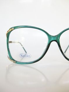 8c0b99ab52 Emerald Green Eyeglasses Vintage 1970s Oversized Sunglasses 70s Forest Pine  Glasses Indie Hipster Chic Nerdy Gold Metallic Italy Italian