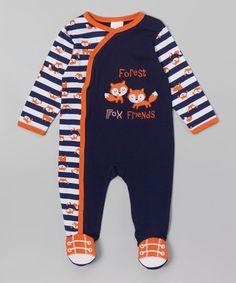 Another great find on #zulily! Navy & Orange 'Forest Fox Friends' Footie - Infant #zulilyfinds