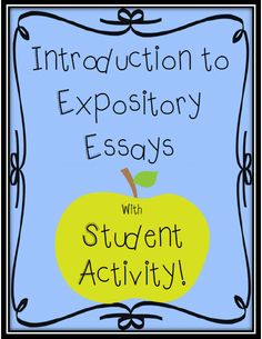 Use this activity to introduce students to Expository Essays; grades 3-5