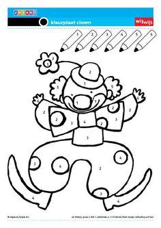 Zelf de kleuren laten kiezen Kindergarten, Kids Carnival, Color By Numbers, Fete Halloween, English Fun, Circus Theme, Class Activities, Preschool Worksheets, Emoticon