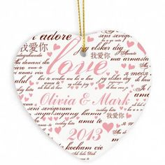 Personalised Love Ceramic Heart Decoration