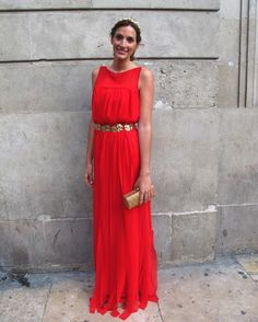 Vestido rojo para boda tarde noche