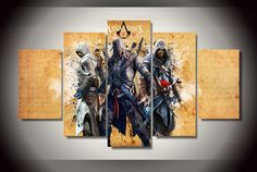 Style Your Home Today With This Amazing 5 Panel Assassins Creed 3 Ezio Framed Canvas Wall Art For $99.00  Discover more canvas selection here http://www.octotreasures.com  If you want to create a customized canvas by printing your own pictures or photos, please contact us.