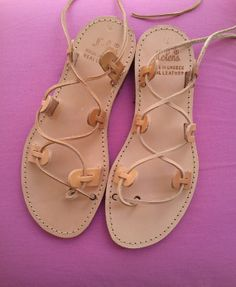 Greek leather laceup Sandals by natasaki444 on Etsy, $34.00