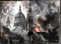 Ruth Beeley: St George's School, Hertfordshire England 2011. Sketchbook page for A Level Art Coursework final artwork, exploring the theme of war. Ruth's interpretation of a famous scene from WWII: St Paul's Cathedral.
