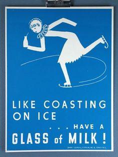 Ice Skate Dairy Council s Vintage MILK silkscreen Print 2c2f189bbf