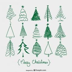 Christmas trees sketches doodle vector vynil wall art pompolina