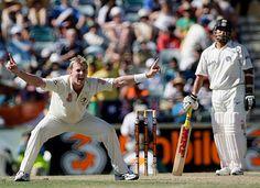 Brett Lee appeals for lbw against Sachin Tendulkar, Australia v India, 3rd Test, Perth, 1st day, January 16, 2008  200th.in