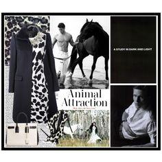 """Fantasy Outfit#190 - Animal Attraction"" by jinath-hyder on #Polyvore #Animal #Attaction #JOSEPH #fur collar #coat, #VERSACE animal #print sleeveless #dress, #SaintLaurent Sac de Jour Small #Carryall #Bag #White/#Black, Women's Spotted Calf Hair #Pump Black/White #GiuseppeZanotti, #Zara #Stones And #Flower #Necklace"