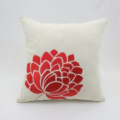 Orange Beige Throw pillow cover embroidered with stunning flower in red orange stitches. This pillow cover has hidden zipper at the bottom side and it is available in size 16 x 16, size 18 x 18, size 20 x 20, size 24 x 24 and size 26 x 26. Choose the size you need by using the Size drop down menus. This listing is for pillow cover only without insert/filler.  More beige pillow covers are available here https://www.etsy.com/shop/KainKain?section_id=7466293&ref=shopsection_leftnav_4  This…