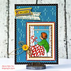 Twinkle Twinkle Little Star - Card created with Graphic 45 Mother Goose collection, Xyron and Craftwell Embossing folder