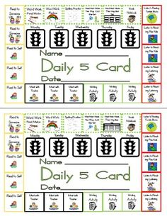 I created this punch card for my kids to use during my managed independent learning time. They must do something from each color every day. After t...