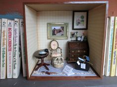 Your place to buy and sell all things handmade Mystery Crafts, Miss Marple, Miniature Rooms, Study Space, Study Office, Barbie Furniture, Agatha Christie, Small World, Doll Houses
