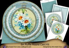 Teal Daisies Happy Easter 8inch Round Ruffle Mini Card Kit on Craftsuprint - Add To Basket!