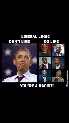 Liberal logic... Stop with the racist b.s. its the character you have that people don't agree with