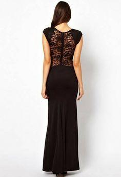 Black Sleeveless Back Lace Split Dress