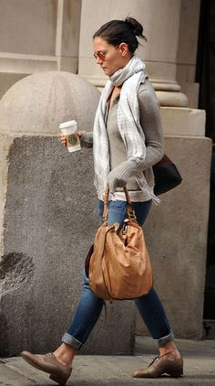Katie Holmes - Love the layers of texture she has going. So cozy and sensual.