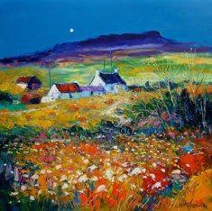 Wild Field Ardtun Isle of Mull jolomo Sketch Painting, Watercolor Artwork, Nature Paintings, Beautiful Paintings, Cottage Art, Landscape Artwork, Pastel, Houses, Artist