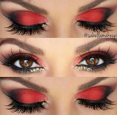 Make up augen lidschatten rot schwarz amzn to 40 amazing red eyeshadow makeup ideas for the coming valentine s day page 32 of 40 Red Eye Makeup, Sexy Makeup, Smokey Eye Makeup, Makeup Eyeshadow, Red And Black Eye Makeup, Beauty Makeup, Red Queen Makeup, Queen Of Hearts Makeup, Red Eyeliner