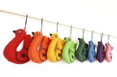 Baby Crib Mobile, Bird garland in rainbow,  set with 8 birds  Wool Felt  Ornament