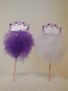 Purple and White Princess Cupcake Topper/ Cupcake Pick