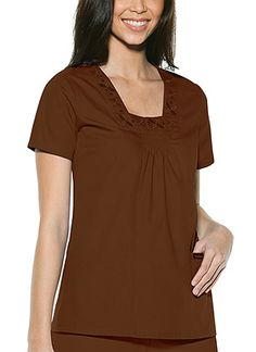 Baby Phat Square Neck Top in Brown Square Neck Top  Fabric: Brushed Cotton/Poly Poplin $26.99 #scrubs #nurses #doctors #medicaloutlet #babyphat Baby Phat Scrubs, Nursing Board, Square Neck Top, Nurses, Doctors, Poplin, Tunic Tops, V Neck, Fabric