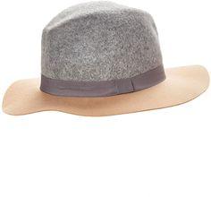 Gray & Camel Colorblock Wool Fedora #hat #womens