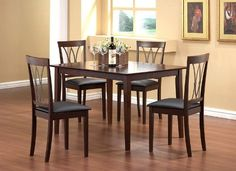 5-Piece Dining Set in Cherry - Coaster by Coaster Home Furnishings. $1109.00. Some assembly may be required. Please see product details.. This 5 Piece Dining Set by Coaster offers a casual and modern style in dark walnut finish. It includes a beautifully crafted solid top dining table with four unique upholstered in black fabric with metal back frame chairs. This kitchen dining set is sure to add a contemporary decor to your dining room.