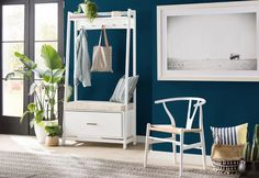 Modern Rustic Interiors Destiny Hall Tree & Reviews | Wayfair Entryway Storage, Entryway Furniture, Storage Spaces, Furniture Decor, Corner Hall Tree, Entry Way Design, Solid Wood Dining Chairs, Shop Interiors, Modern Rustic Interiors
