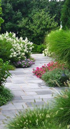 Garden Ideas, Landscaping ideas, pathway, walkway, bluestone, pathway, flowers, garden, oakleaf hydrangea,landscape idea,Ornamental grasses,perennials,annuals, catmint, liriope, miscanthus,plantings,walkway, Liquidscape