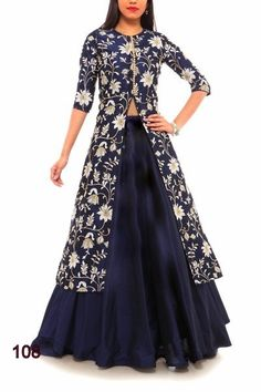 This alluring navy blue Banglori silk with sequence work indo western Lehenga suit will make you look incredibly stylish and graceful. This lovely attire is looking extra beautiful with Banglori silk koti which is embelishment of embroidered, Sequance, Jari work. Comesin Price Range of Rs 2325/- For Order whatsapp us at +91-9311187463 or you can also Visit our website : http://www.suit-sarees.com