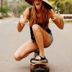 Skateboarding girl.