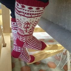 Finnish traditional decorative patterns, hand knitted socks