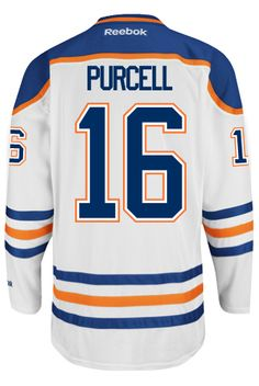 7c3d0351e Edmonton Oilers Teddy PURCELL  16 Official Away Reebok Premier Replica NHL  Hockey Jersey (HAND SEWN CUSTOMIZATION)