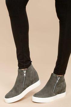 fe19dcec88b Wedgie Grey Suede Leather Hidden Wedge Sneakers