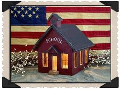 Lighted Primitive Country School House