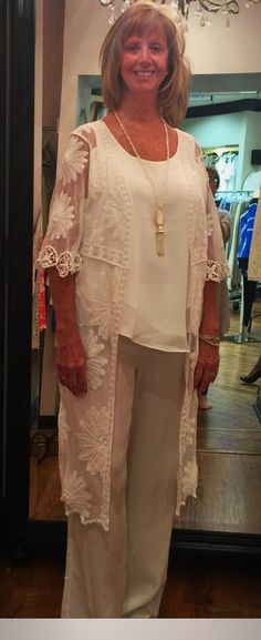Elegant, All White Ensemble...Stunning!!! - When Marsha dropped by yesterday and said she needed a nice outfit to wear to Keeneland, I pulled white silk pants by Sharon Young, white Nic
