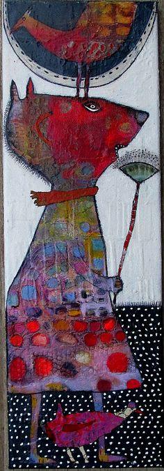 Elke >Trittel acrilyc collage on canvas 20x60cm