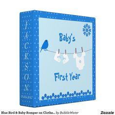 Blue Bird & Baby Romper on Clothesline Photo Album Vinyl Binder