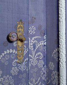 Beautiful lavender painted door with floral detail & brass hardware ~
