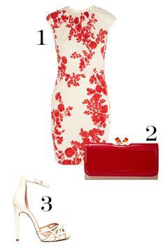 1. Tory Burch Lydia Floral-Print Atretch-Jersey Dress, $375; toryburch.com. 2. Ted Baker Suuzi, $140; zappos.com. 3. ASOS Harpist Heeled Sandals, $74.74; asos.com. - MarieClaire.com