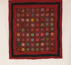 Amish Wool Stumpwork Starflowers   with Triple Border  1900-1915  65 x 70  Lancaster County, Pa